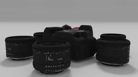 50mm: lenses around camera body in circular array 3d render