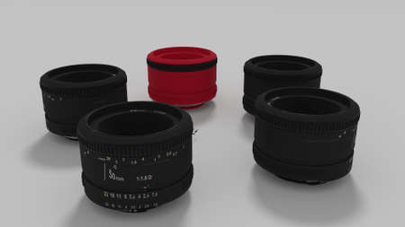 50mm: lenses in circular array 3d render Stock Photo