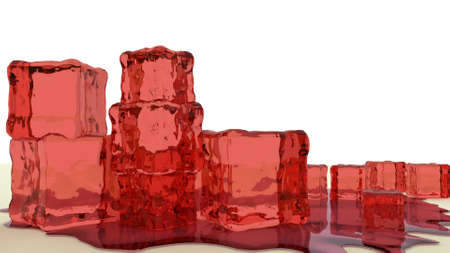 pectin: stack of red jelly cubes 3d render Stock Photo