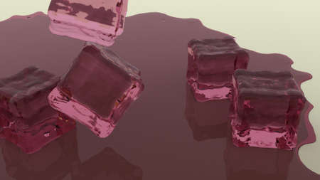falling cubes: falling purple jelly cubes with melted jelly on the floor 3d render
