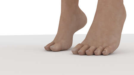 feet on the ground tipping 3d render