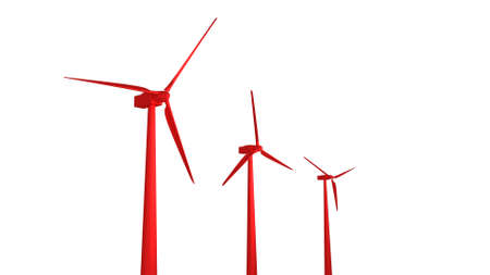 Three red wind turbines generating electricity 3d render