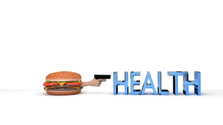 eat right: Burger about to kill health with a gun isolated on white 3d render