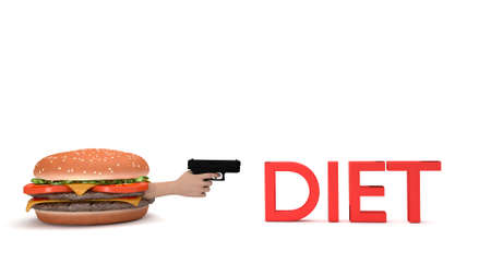 kill: Burger about to kill diet with a gun isolated on white 3d render