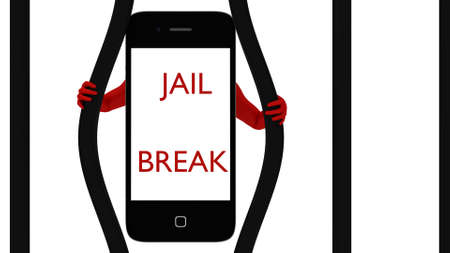 Smart phone breaking out of jail 3d render