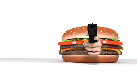 Burger with gun pointed at viewer