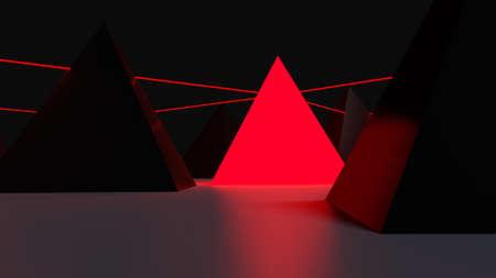 providing: Red pyramid providing light