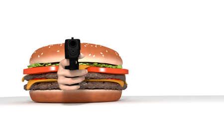 viewer: Burger with gun pointed at viewer