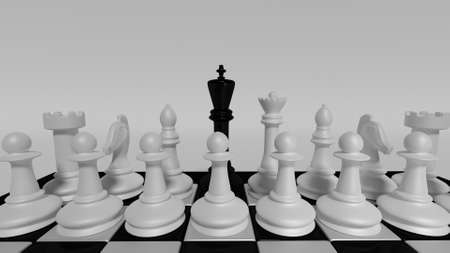 governing: black king governing the white pieces Stock Photo