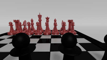 black pieces opposing red chess pieces Stock Photo