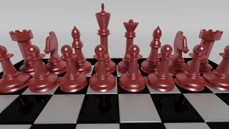 deceptive: chess board with red pieces