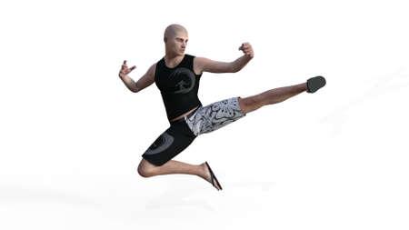 jump kicking in shorts and shirt