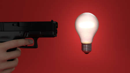 killing an idea by shooting the bulb Stock Photo