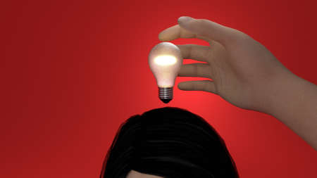 stealing an idea by grabbing the bulb Stock Photo