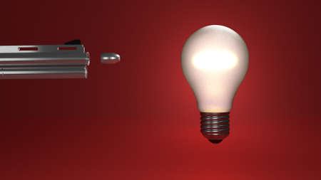 killed: Idea reperesented by a bulb being shot and killed as a bullet flies toward it