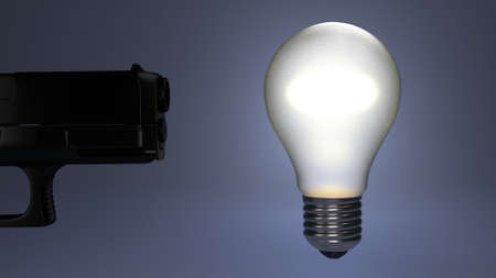 killed: Idea reperesented by a bulb being shot and killed Stock Photo