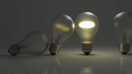 passing: Lightbulbs falling on each other like dominoes passing ideas along through time. Stock Photo
