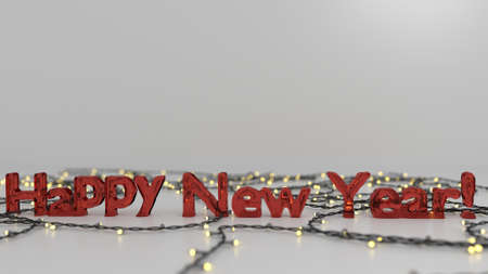 Happy  New Year melting glass text surrounded by christmas lights in a white area. Stock Photo