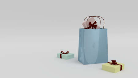Blue Gift Bag surrounded by gift boxes in white Stock Photo