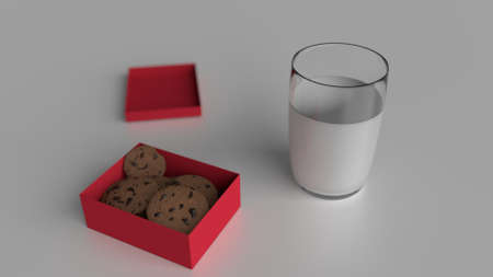 Gift box with cookies and milk isolated in white environment Stock Photo