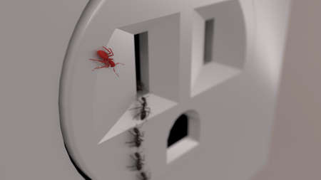 Red ant watching other ants walk into electrical outlet. showing rebbelion, leadership, observation, individuality. Stock Photo