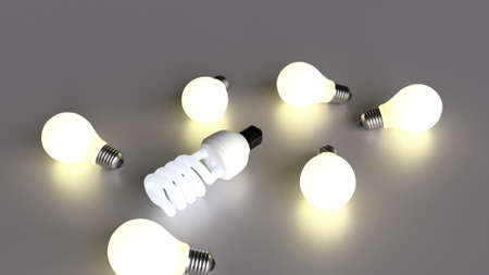 smarter: lightbulbs representing ideas. energy saving lightbulb smarter and more efficient ideas