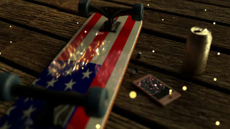 Skateboard with flag on boardwalk during traditional fireworks with phone, earphones and beer can on independence day 4th of July with fireflies. Stock Photo