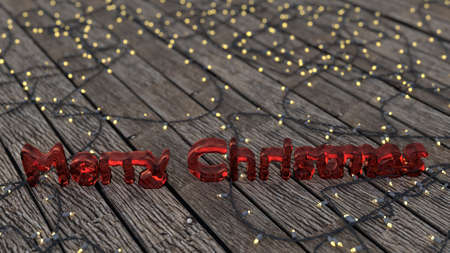 walk board: Red frozen merry christmas text surrounded by christmas lights on board walk. Stock Photo