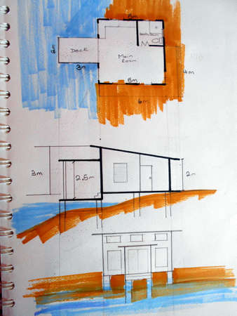 Architechtural design with pens and crayons done in a sketchpad.