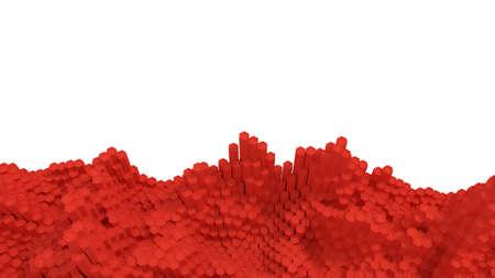 Red hexagonal landscape 3d render