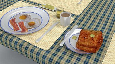 3d render: eggs and bacon breakfast 3d render