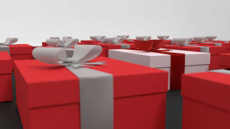 3d render: red christmas gift boxes 3d render