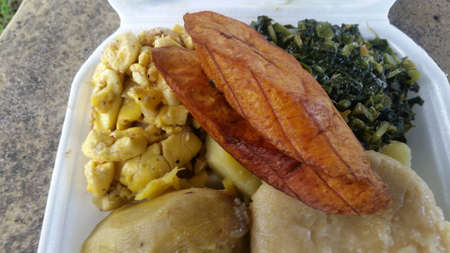 enticing: Ackee plantain and callaloo breakfast