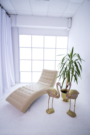 Upholstered in a white room with window