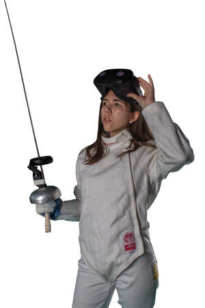 Girl fencer in virtual reality glasses on white