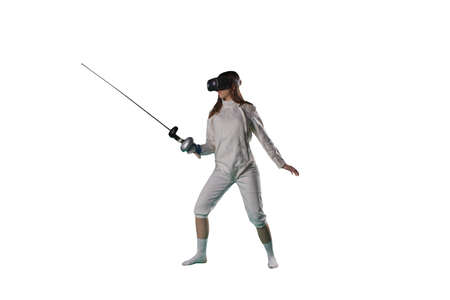 Girl fencer in virtual reality glasses Banque d'images