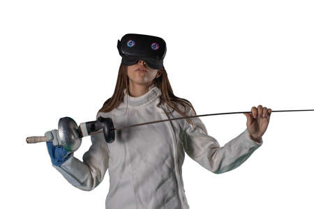 Girl fencer in virtual reality glasses