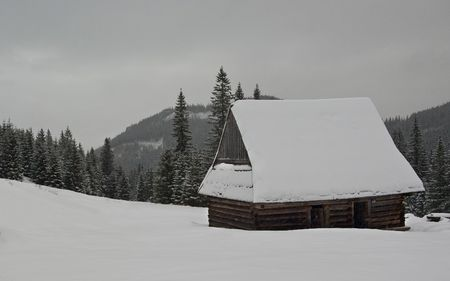 Cottage in tatra mountain in winter photo