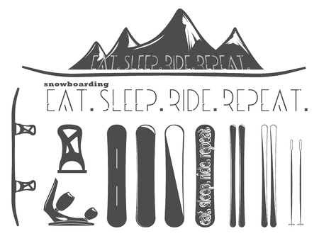 extreme sports: set of snowboard and skiing elements Illustration