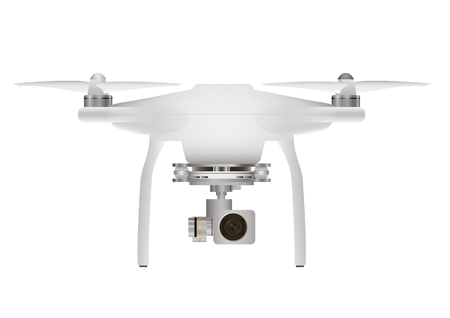 aerial: aerial white drone with a camera