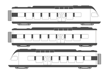 the passenger: flat passenger train wagons Illustration