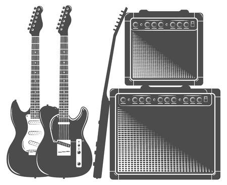 chord: set of electric guitar, amp
