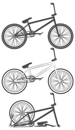 bike parts: Set of bmx bike elements, bicycle parts, wheel, chain