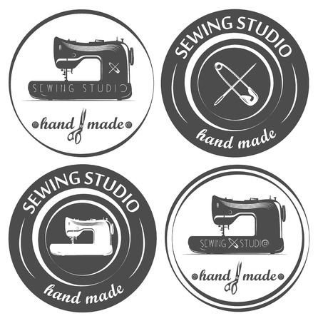 handicraft: Set of tailor logo, emblem, labels. Sewing machine, needle and scissors.