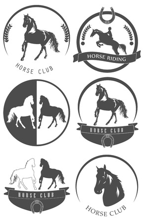 hippodrome: Set of horse club logo, emblem, labels and badges