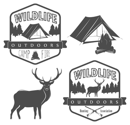wildlife: set of camping and hunting label, wildlife and outdoors adventure Stock Photo