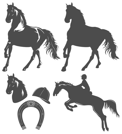 hippodrome: set of horse,  horse rider and horseshoe