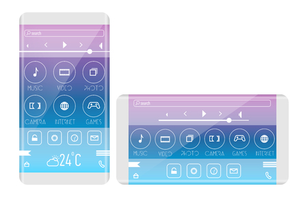 horizontal orientation: Mobile application interface concept. Phone with curved edge. horizontal orientation.
