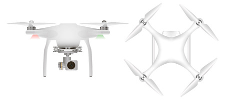 unmanned: White drone with with digital camera for aerial photography. Unmanned aircraft Illustration