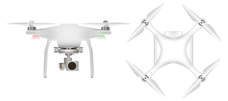 unmanned: White drone with with digital camera for aerial photography. Unmanned aircraft Stock Photo